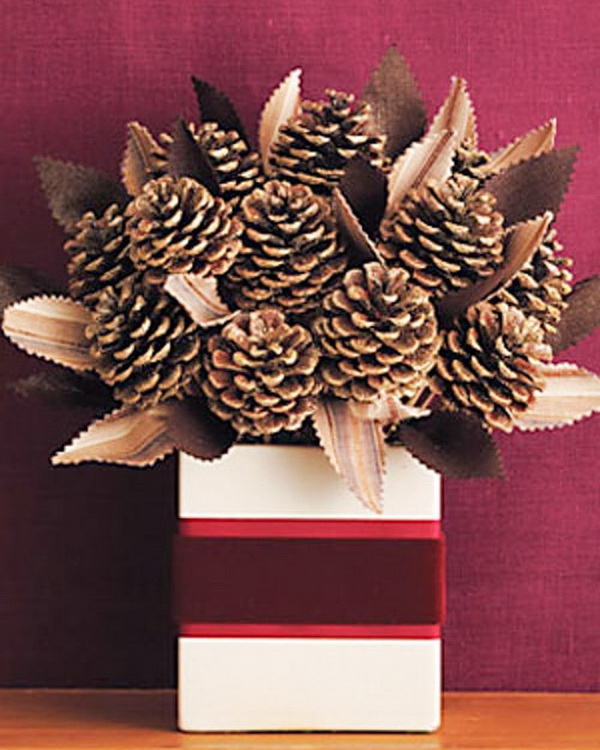 30 festive and fun pine cone crafts listing more for Pine cone art projects