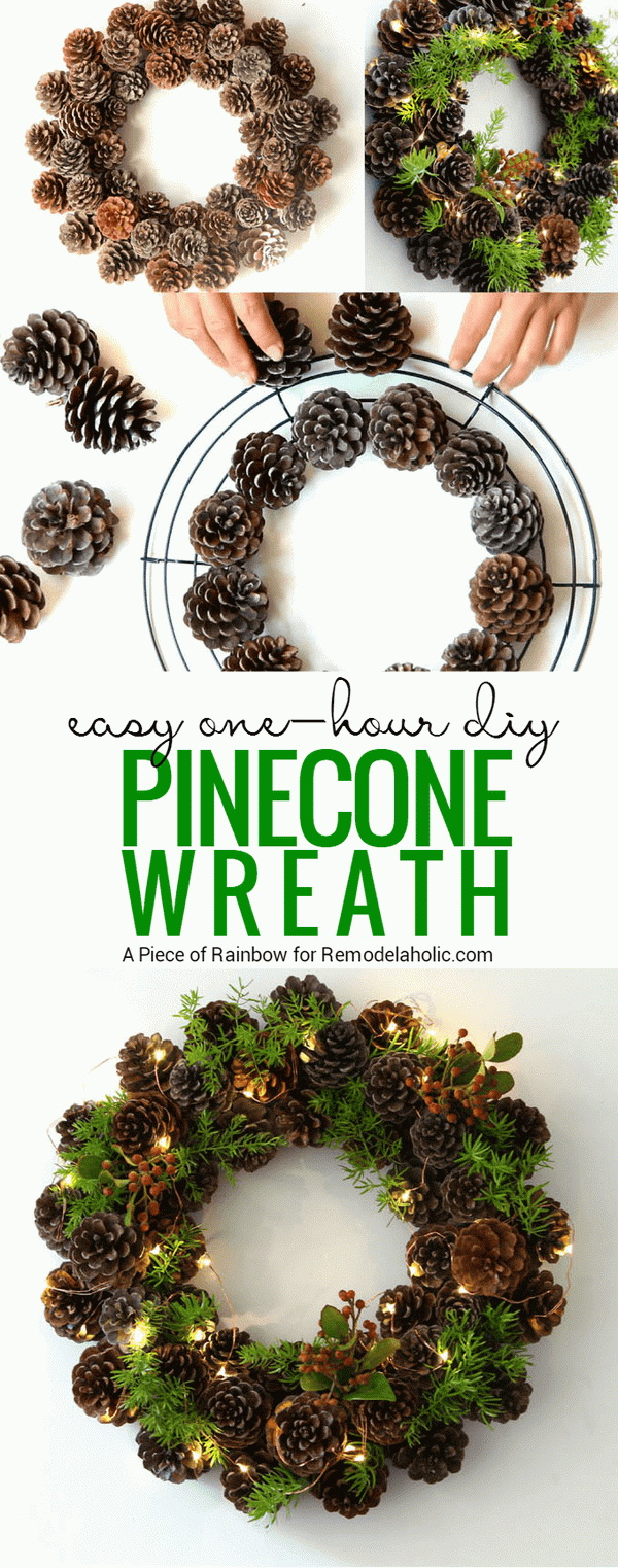 Christmas Green Pinecone Wreath.