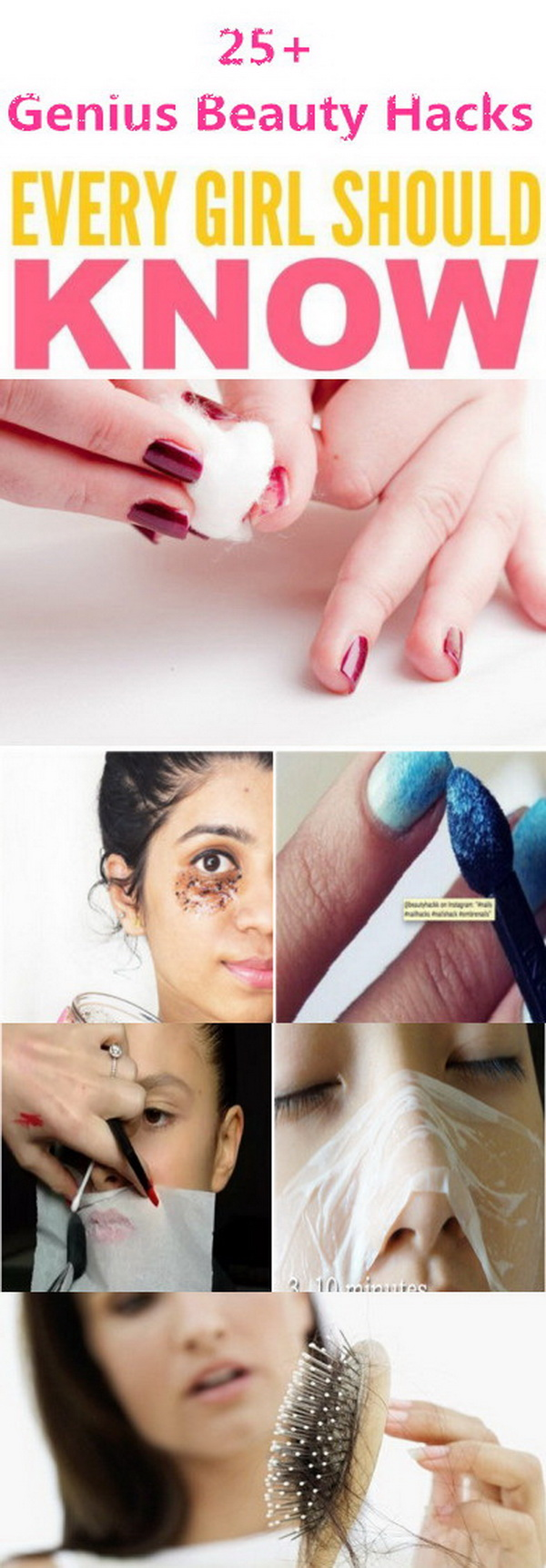 Every girl is always learning tips and tricks to make their beauty routines easier. They are always so excited to make their own beauty recipes at home or use a creative way to solve the skin problems. Today here are some best beauty hacks and tips for girls.