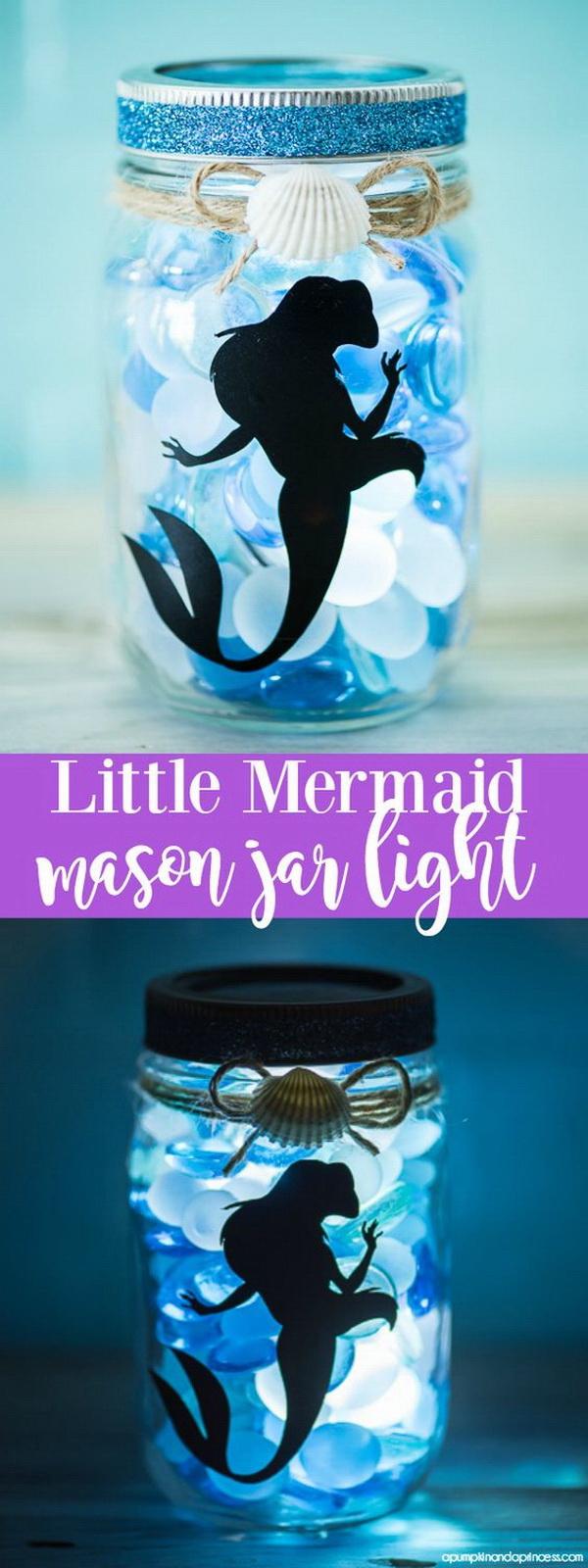DIY Little Mermaid Mason Jar Light.