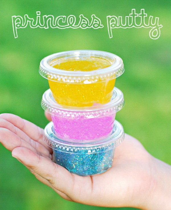 Princess Putty. Princess Putty which is glittery slime made from Elmer's Glitter Glue and borax.