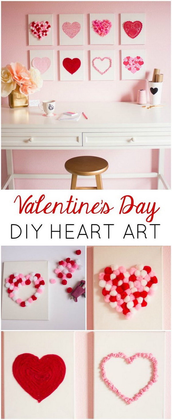 Valentine's Day DIY Canvas Heart Art.