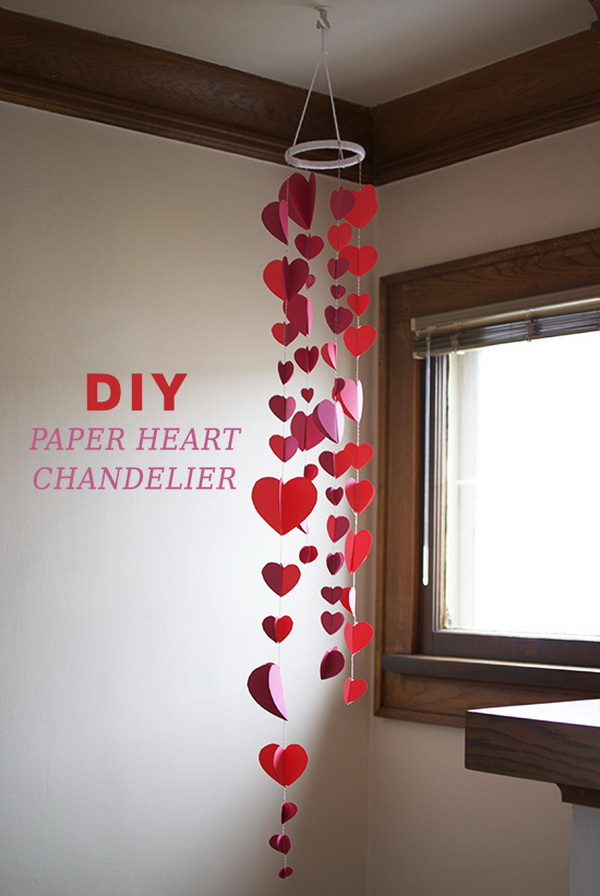 DIY Paper Heart Chandelier.