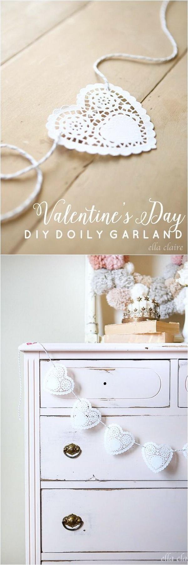 Valentine's Day Doily Garland.