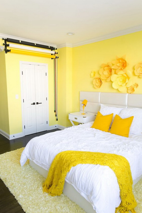 Yellow Bedroom with Wall and Pillow.
