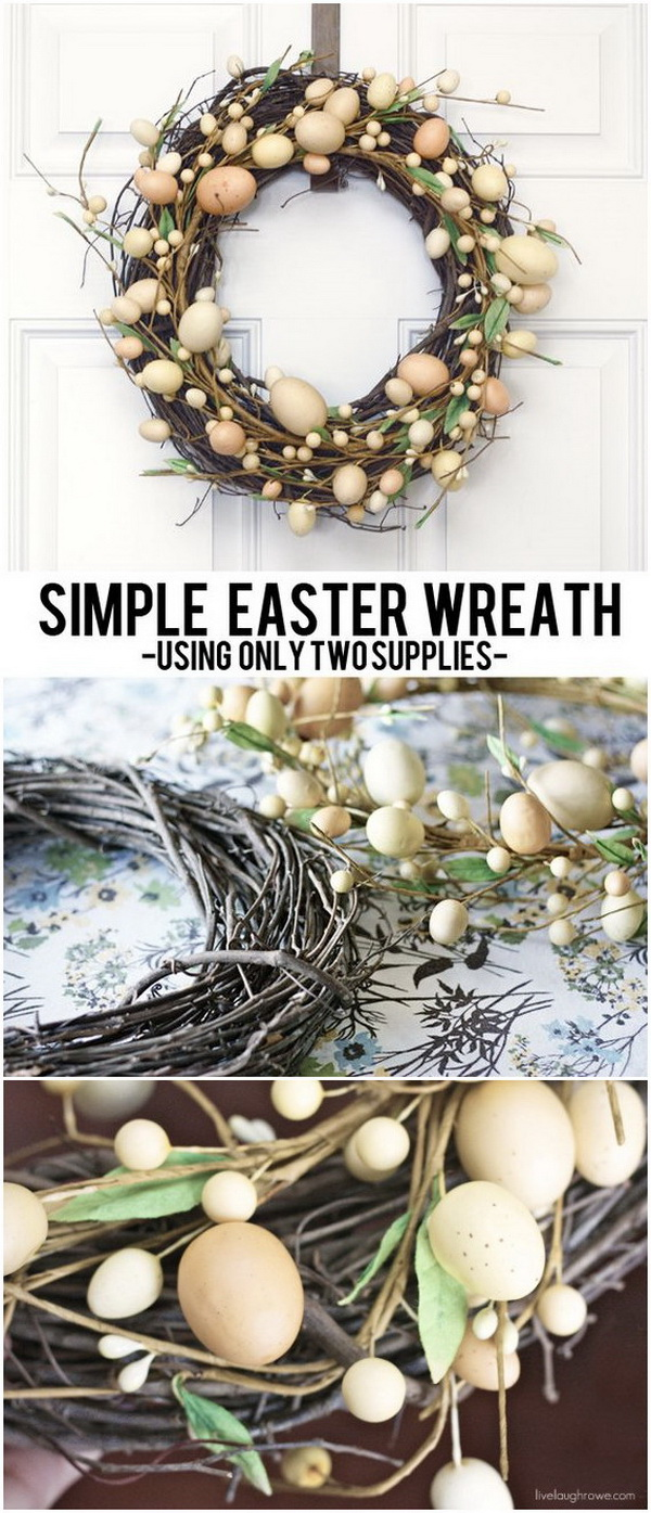 DIY Easter Wreath Ideas: DIY Grapevine and Easter Egg Wreath.