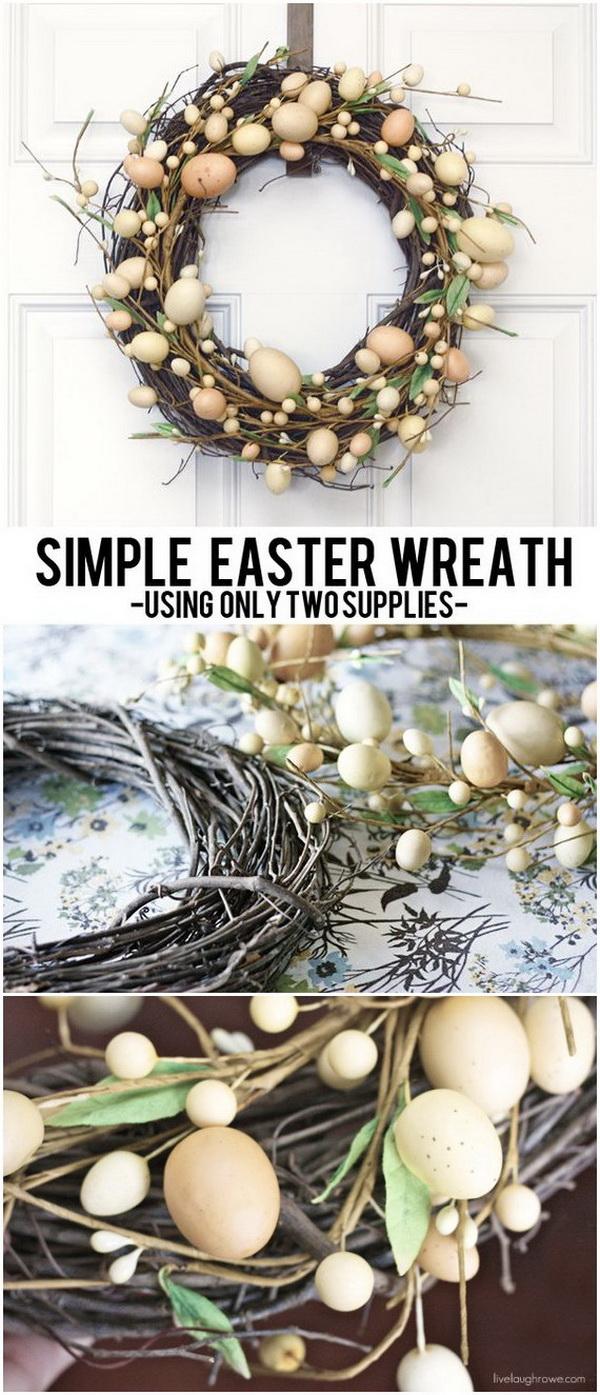 DIY Easter Wreath Ideas: DIY Grapevine and Easter Egg Wreath.