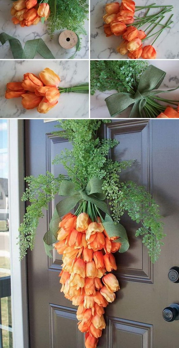 DIY Easter Wreath Ideas: Spring Carrot Door Hanger Wreath.