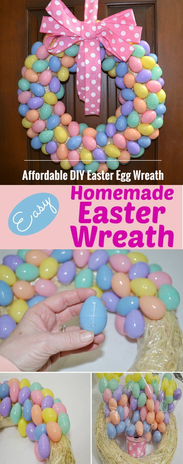 DIY Easter Wreath Ideas: Affordable DIY Easter Egg Wreath.