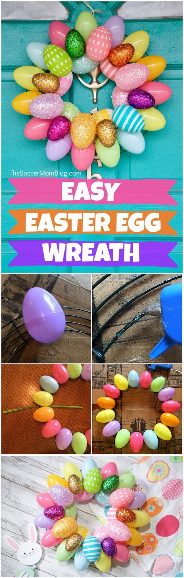 DIY Easter Wreath Ideas: 10 Minute Easter Egg Wreath.