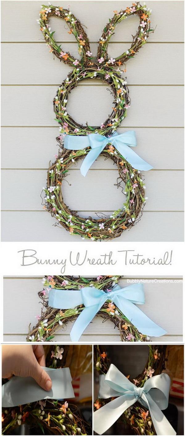 DIY Easter Wreath Ideas: Easter Bunny Wreath Tutorial.