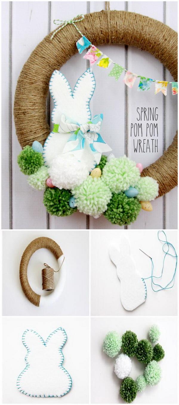 DIY Easter Wreath Ideas: Spring Pom Pom Wreath.