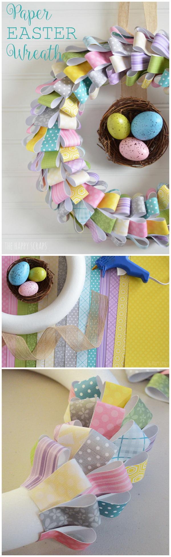 DIY Easter Wreath Ideas: Paper Easter Wreath.