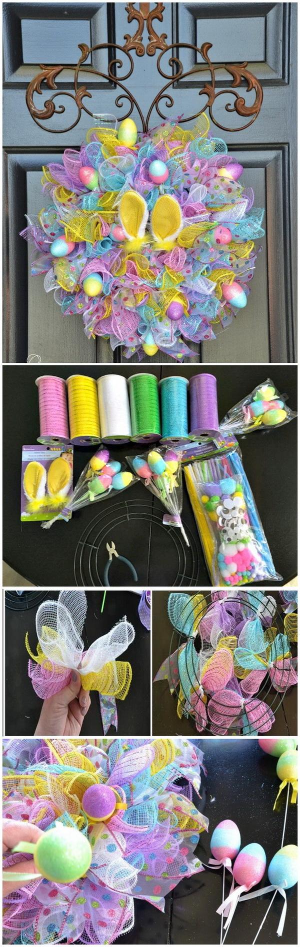 DIY Easter Wreath Ideas: Dollar Store Easy Easter Wreath.