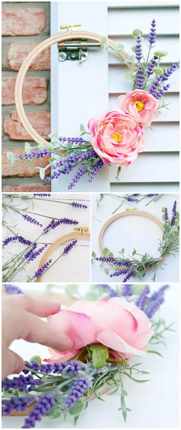 DIY Easter Wreath Ideas: DIY Embroidery Hoop Spring Wreath.