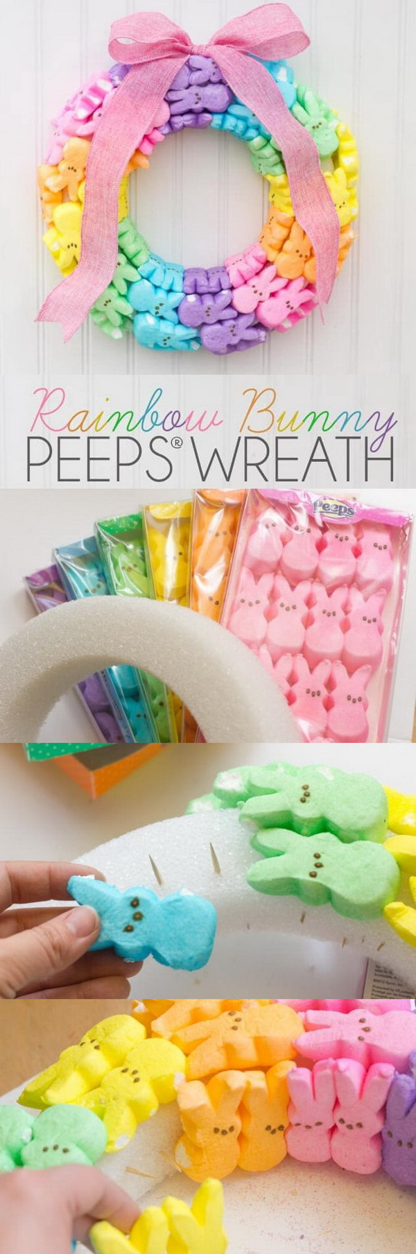 DIY Easter Wreath Ideas: Rainbow Bunny Peeps Wreath.