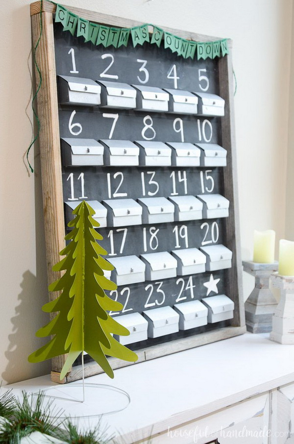 Refillable Chalkboard Advent Calendar.