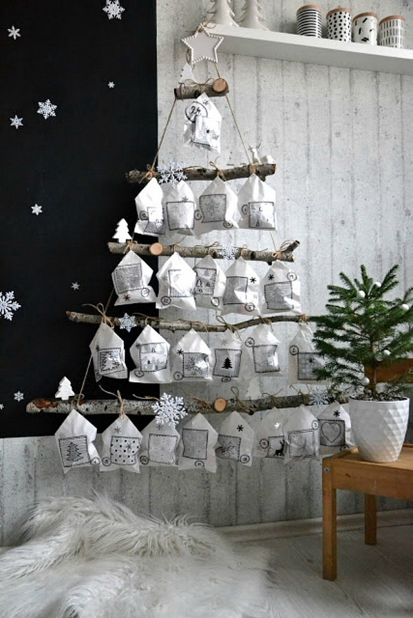 Christmas Tree Advent Using Branches And White Paper Bags.
