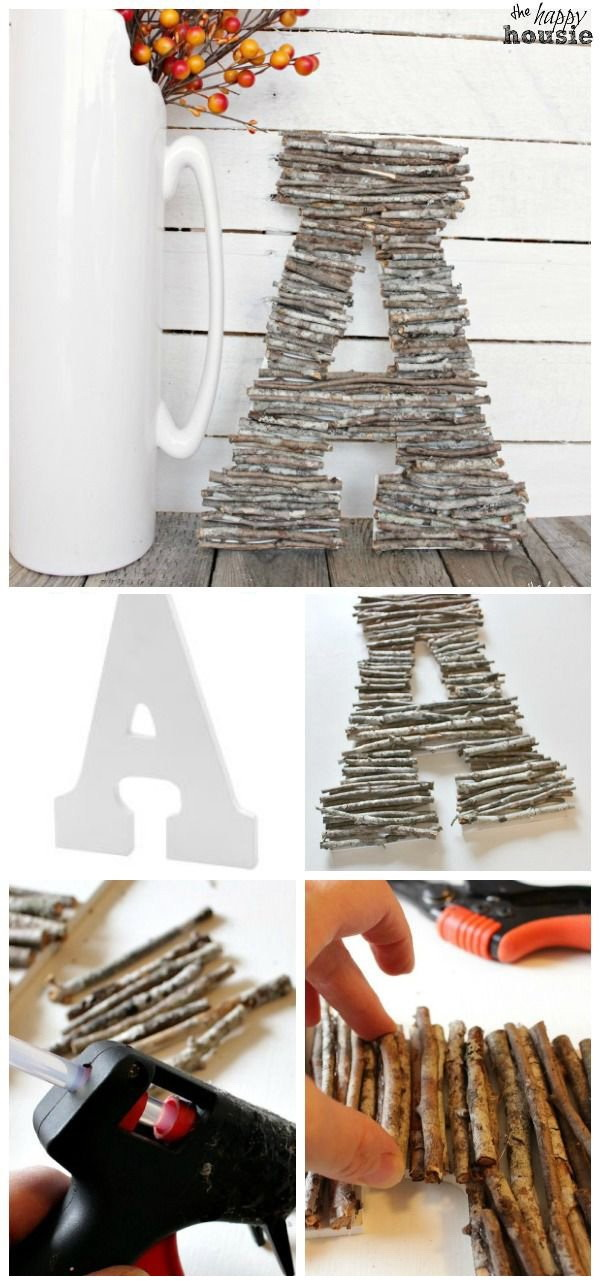 DIY Decorative Letters With Twigs. Super quick and easy project that you can make for your decor! Looks great on your fall mantel and add a touch of rustic warm!