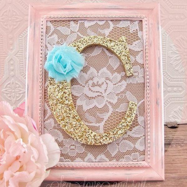 Pink Shabby Chic Nursery Decorative Wall Letter. Pink and gold wall letters for nursery decor with shabby chic charm!
