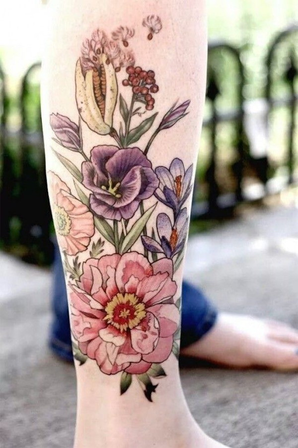 Water Colour Effect on Leg. 30+ Beautiful Flower Tattoo Designs.