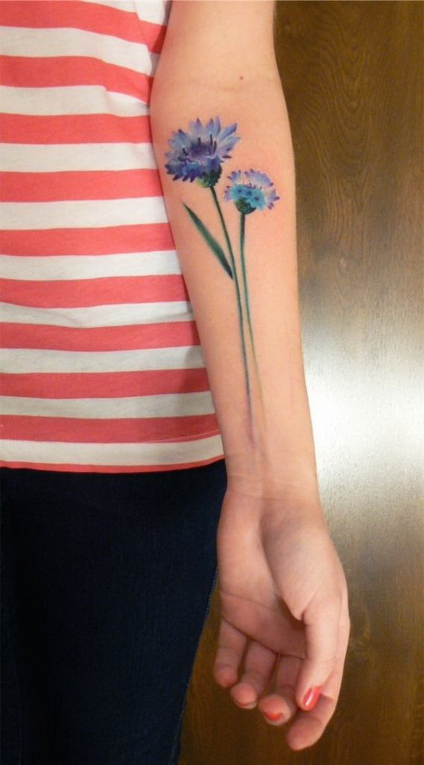 Simple yet Lovely Flowers with Stems Tattoo on Arm. 30+ Beautiful Flower Tattoo Designs.