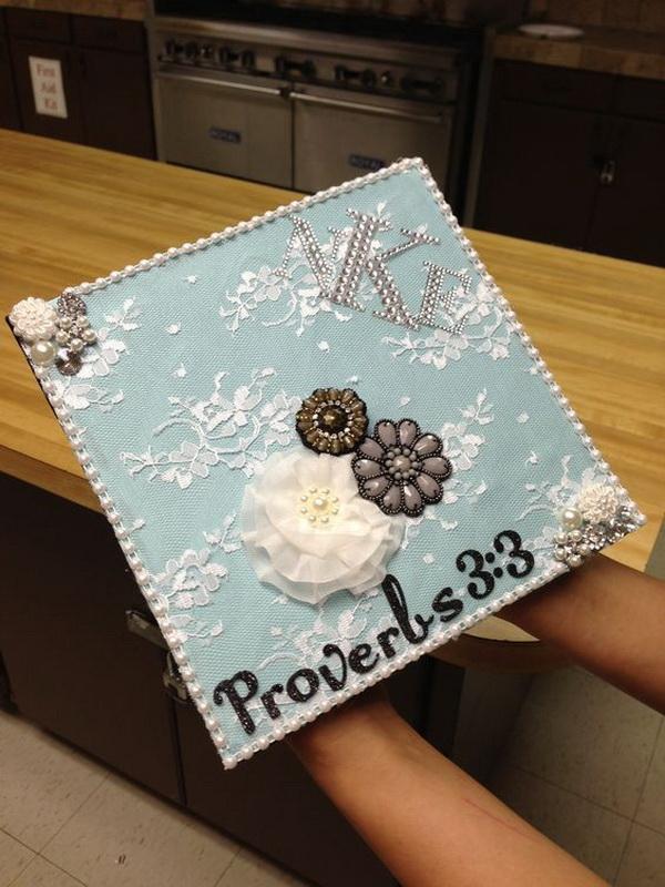 Lace Decorated graduation cap.