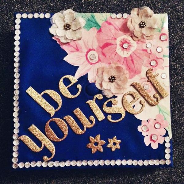 Vintage Pink Floral Graduation Cap.