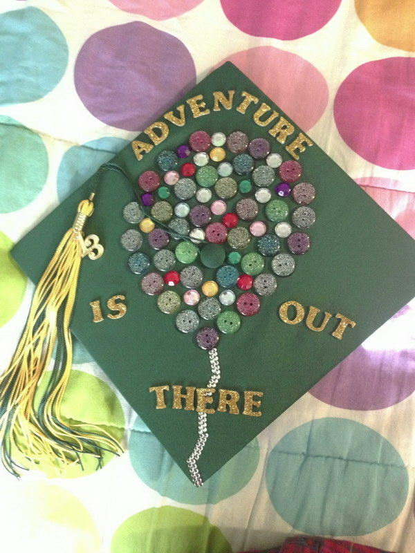 Graduation Cap Decorated with Buttons.