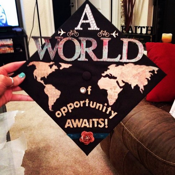 Travel Themed Graduation Cap.