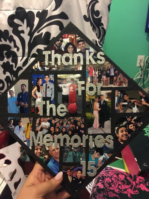 Picture Montage on Graduation Cap.