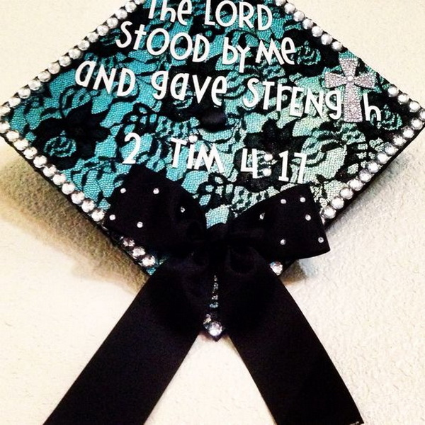 Graduation Cap Decorated With Black Lace.