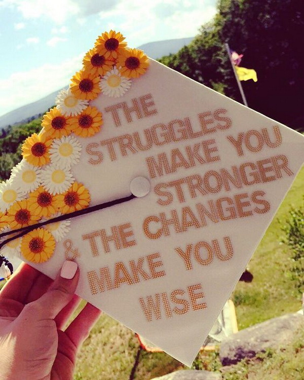 Small Sunflowers Decorated Graduation Cap.