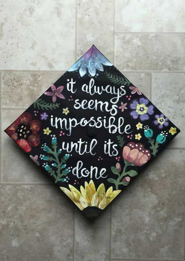 Floral Decorated Graduation Cap.