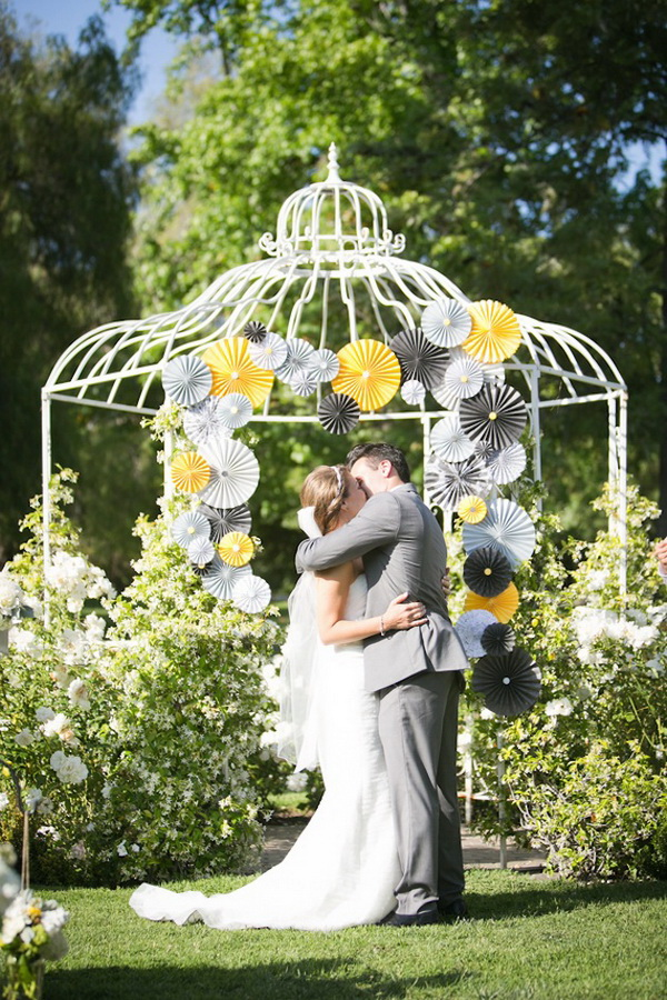 Yellow and Grey Wedding Pin Wheels and Birdcase Wedding Photo Backdrop.