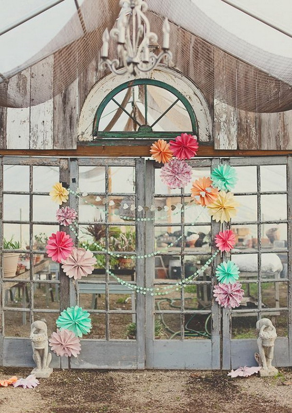 Rustic Photo Backdrop with Paper Rosette in Bright Colors.