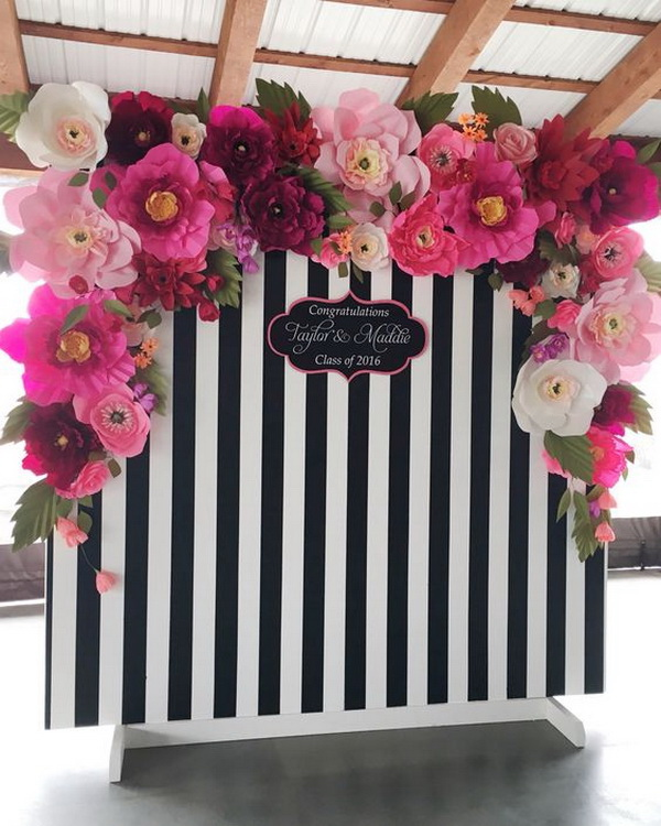 Black and White Stripped and Flowery Photo Backdrop.
