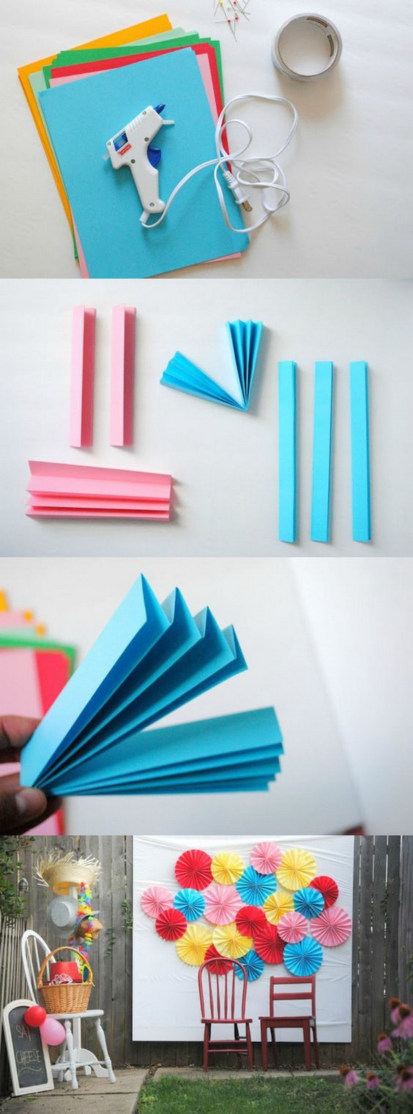 DIY Paper Fan Photo Booth Backdrop. Love the simplicity and pretty colors of this paper fan photo booth backdrop!