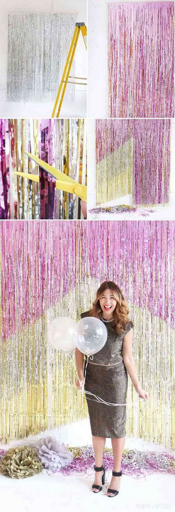DIY Chevron Fringe Photo Booth Backdrop.