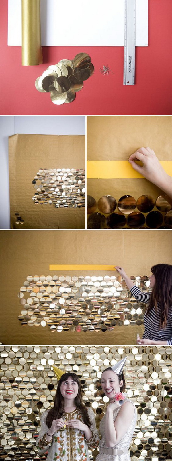 DIY Sequined Pallet Photo Backdrop.