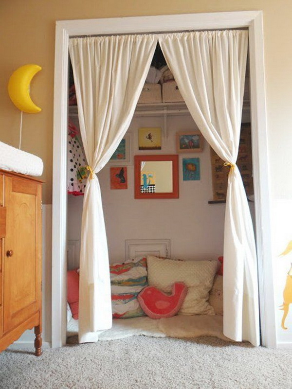 Kids Closets Used as Reading Nooks.
