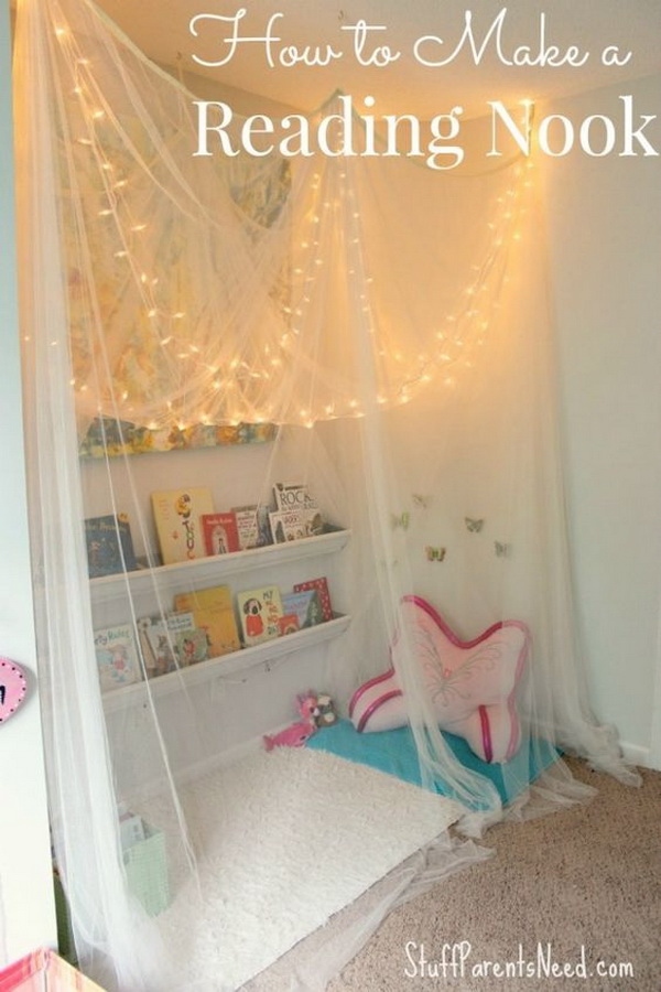 Kids' Reading Nook Decorated with Fairy Lights.