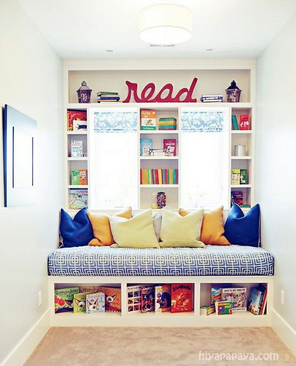 Kids Reading Nook Window Bed with Built-in Bookshelves.