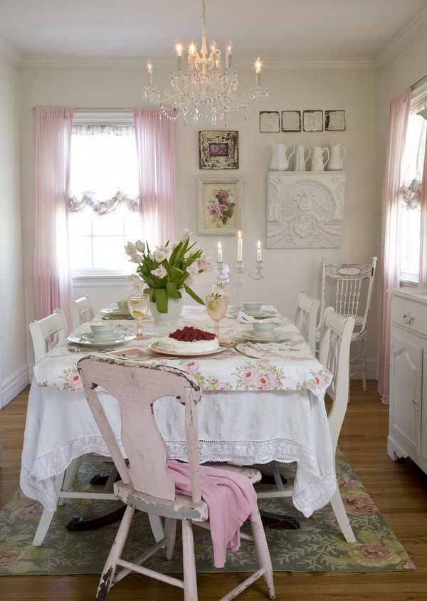 Romantic shabby chic country dining room.