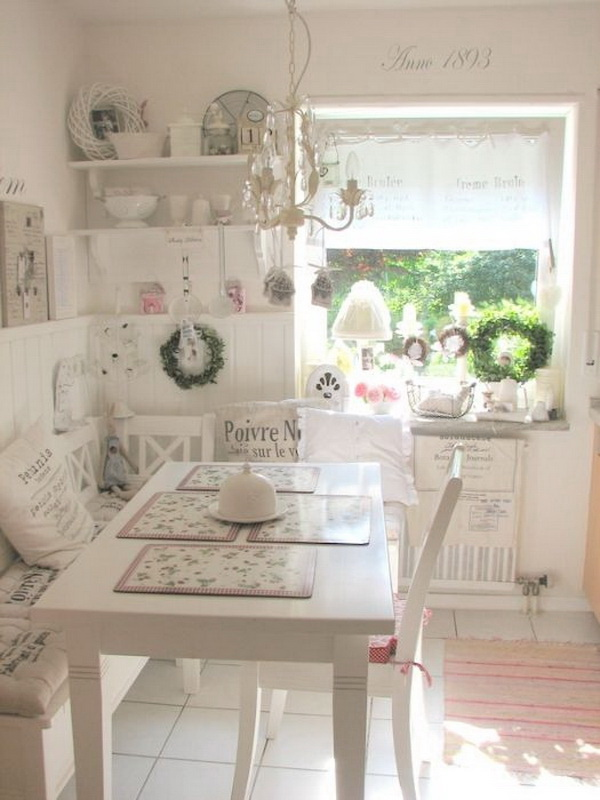 Shabby chic eat-in kitchen or dining area.