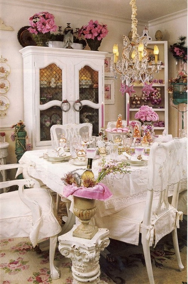 Elegantly and beautifully furnished shabby chic dining room. .