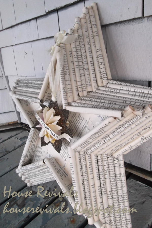 DIY Upcycled Book Page Giant Star. A giant decorative star made with rolled book pages.