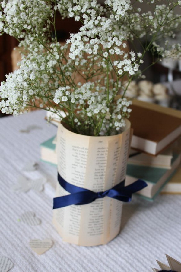 Babys Breath Book Page Vase. Get some pieces of vintage old book pages and rolled them up to make this simple yet rustic chic vase.