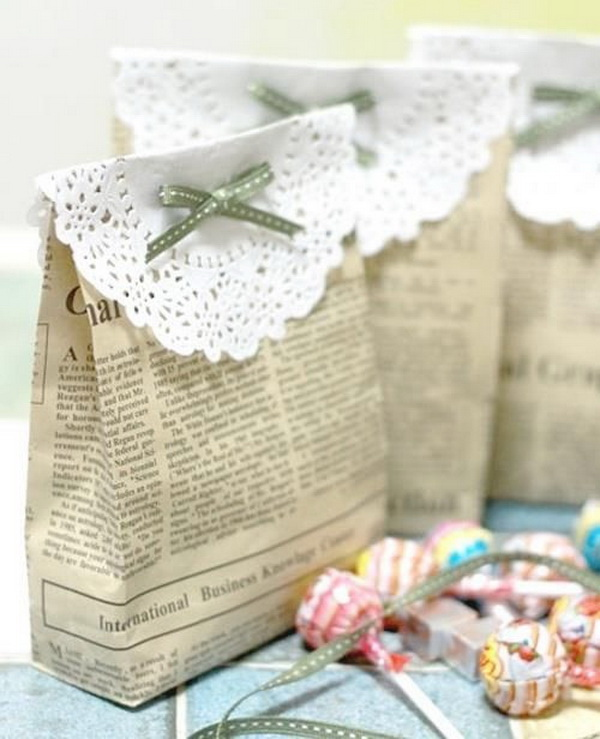 Gift Bags Made out of Newspaper. These newspaper gift bags add a lively charm to homemade holiday gifts you make for friends and family.