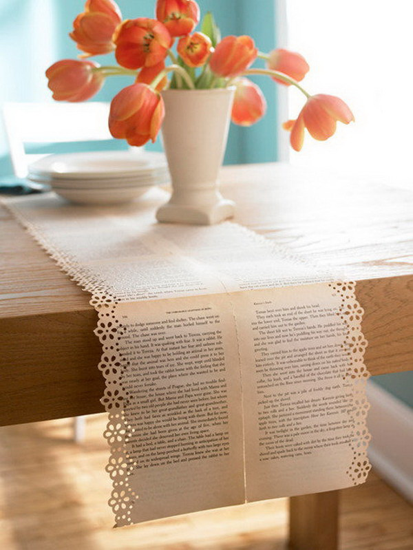 Vintage Old Book Pages Table Runners with Floral Designs. A simple yet chic book page table runners.